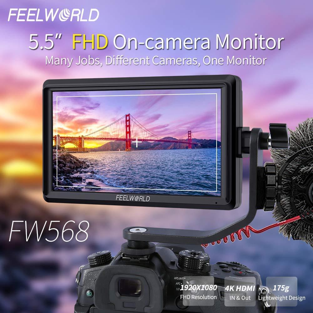FEELWORLD FW568 5.5 inch DSLR Camera Field Monitor Video Peaking Focus Assist Small Full HD 1920x1080