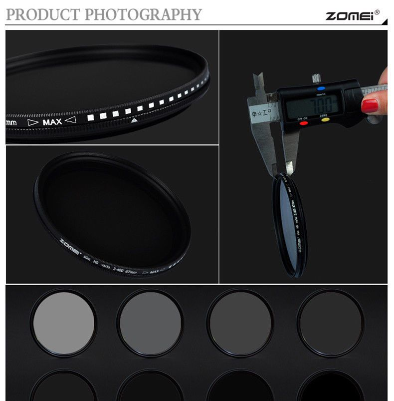 Filtro Lente ZOMEi 52mm Ultra Slim ND2-ND400 Fader Variable ND