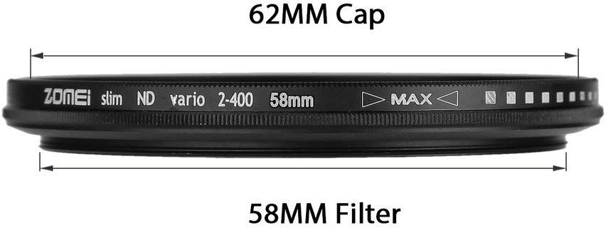 Filtro Lente ZOMEi 58mm Ultra Slim ND2-ND400 Fader Variable ND