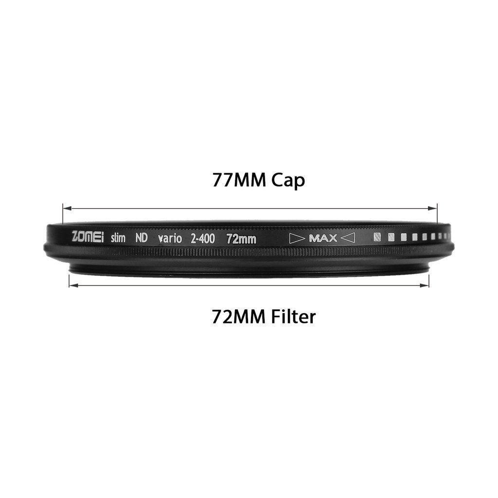 Filtro Lente ZOMEi 72mm Ultra Slim ND2-ND400 Fader Variable ND