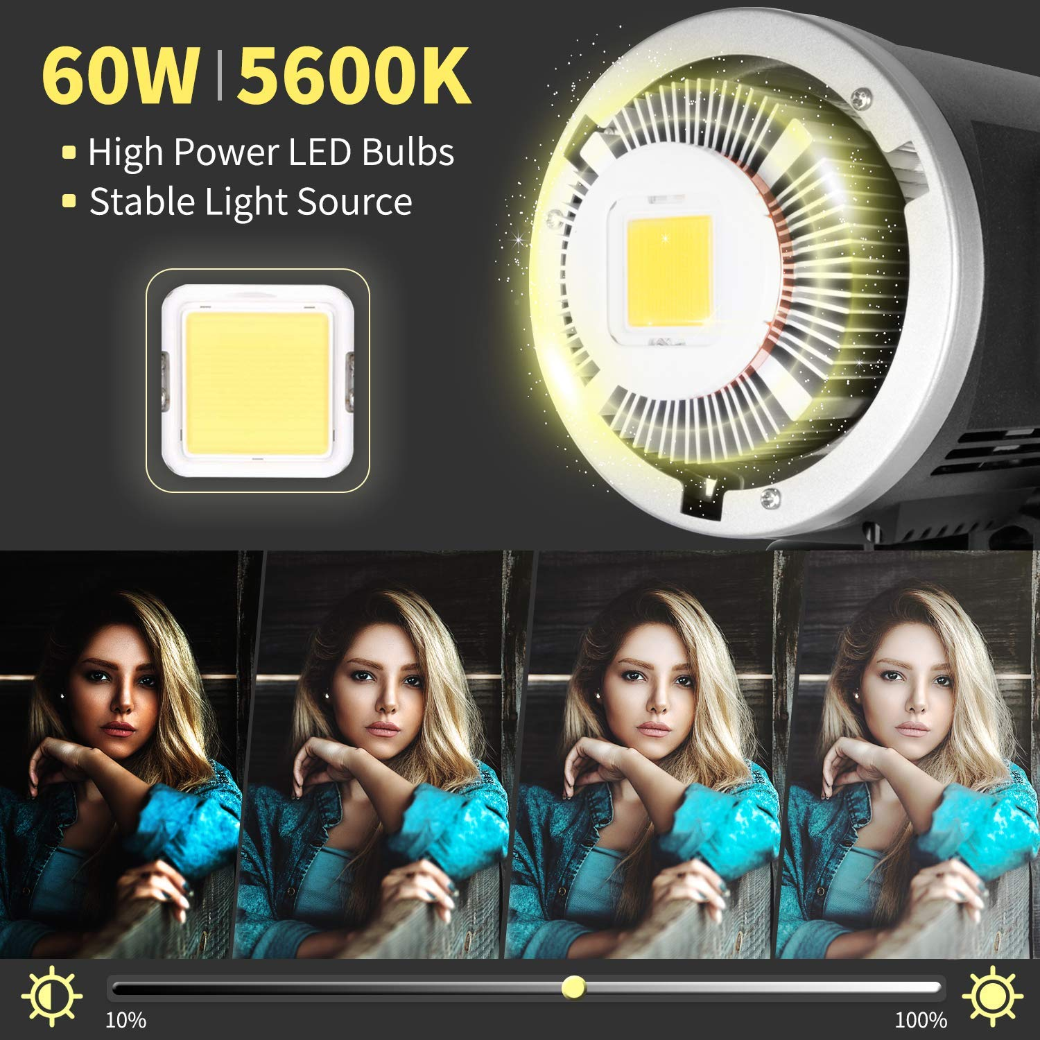 GODOX SLB60W 60W 5600K White Version Hand Held Type Outdoors Portable Continuous LED Using Lithium Battery+Remote+Charger for Photography