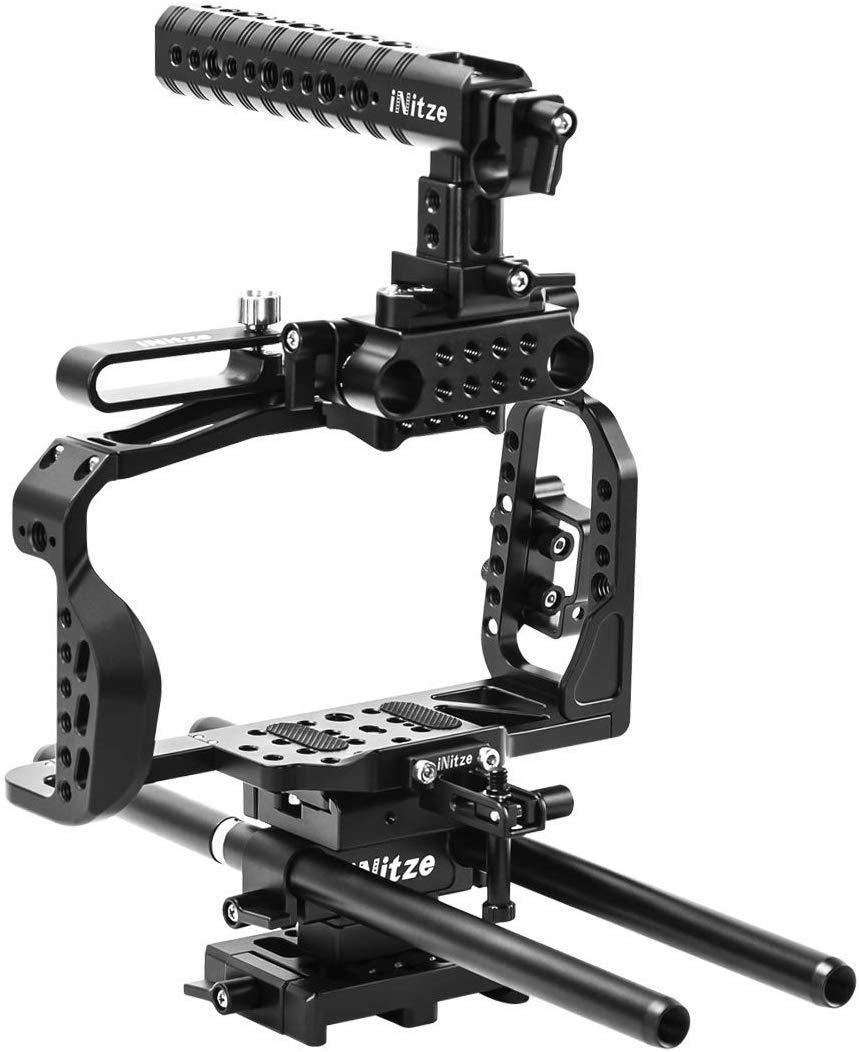 INITZE BMPCC 4K Full Cage Kit for Blackmagic Pocket Cinema Camera 4K with NATO Handle,ARRI Standard Dovetail Baseplate and Rods - BTK01
