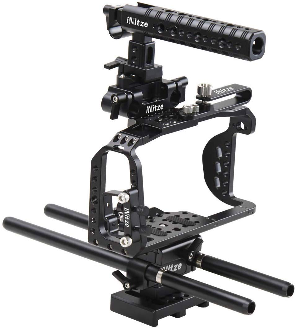 INITZE BMPCC 4K Full Cage Kit for Blackmagic Pocket Cinema Camera 4K with NATO Handle,ARRI Standard Dovetail Baseplate and Rods - BTK01