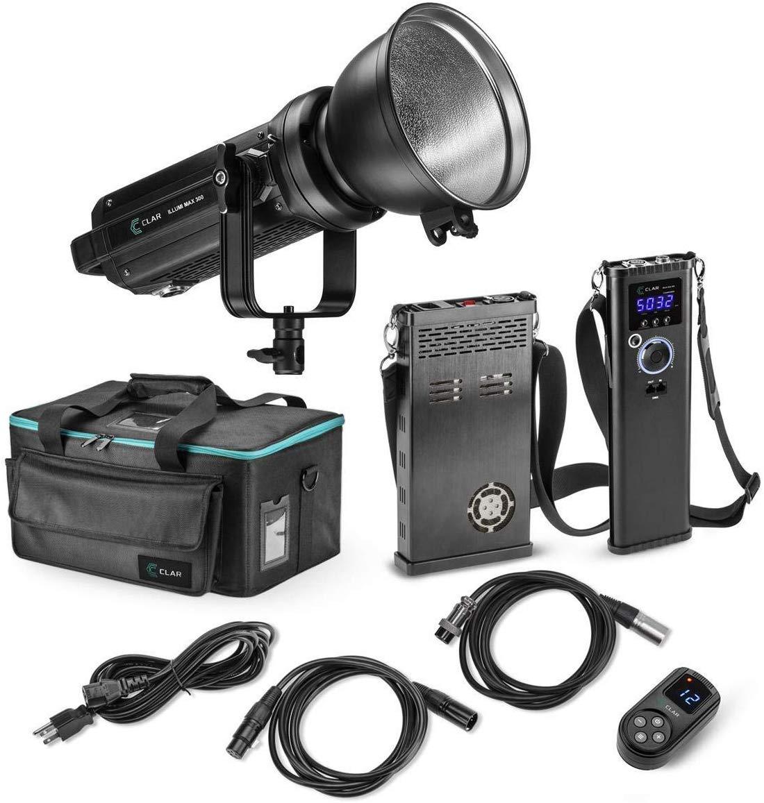 Kit de luz LED CLAR Illumi Max 300 de alta potência 5600K com duas baterias de montagem em V e estação de carregamento de posição dupla