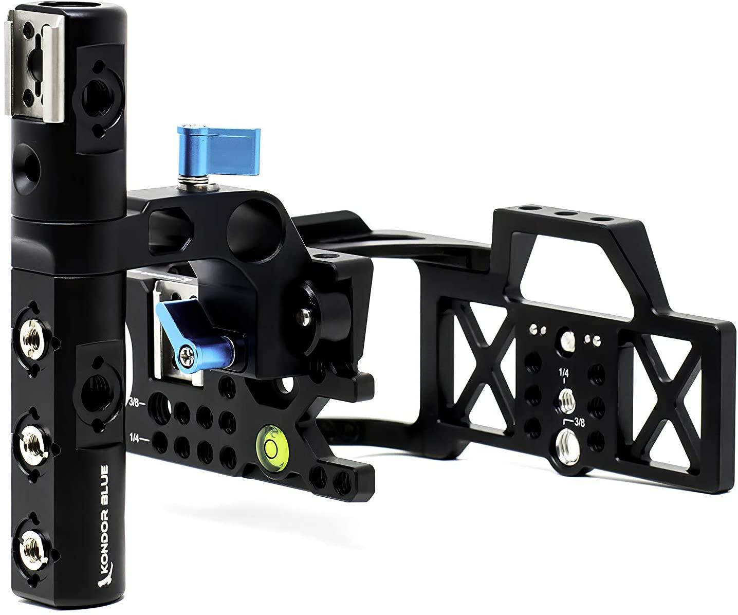 KONDOR BLUE BMPCC4K Half Cage Rig for Blackmagic Pocket Cinema Camera 4K with Top Handle, NATO Rails, 15mm Rod, Cold Shoe, Bubble Leveler and Optional T5 SSD Holder, Metabones Speedbooster Bracket
