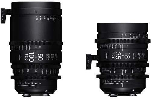 Lentes Cine com zoom de alta velocidade T2 Sigma 18-35mm e 50-100mm T2 com estojo, métrico, montagem Canon EF