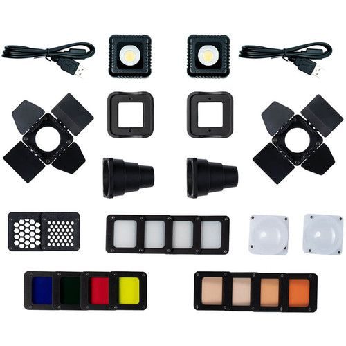 Lume Cube 2.0 Two Pack - Daylight Balanced LED Lights for Photo, Video, Content Creation, Includes 2 Warming Gels, Diffusers, DSLR Camera Mounts for Sony, Nikon, Panasonic, Fuji, Canon, GoPro, Drones
