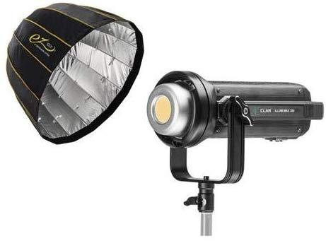 """Luz LED 5600K de alta potência CLAR Illumi Max 300 (132.000 lux a 0,5 m) + Softbox rápida parabólica profunda com brilho EZ Lock (38 """")"""
