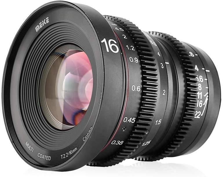 Meike 16mm T2.2 Grande Abertura Manual Foco Lente Mini Cine de Baixa Distorção Compatível com Micro Quatro Terços Câmeras M43 MFT e BMPCC