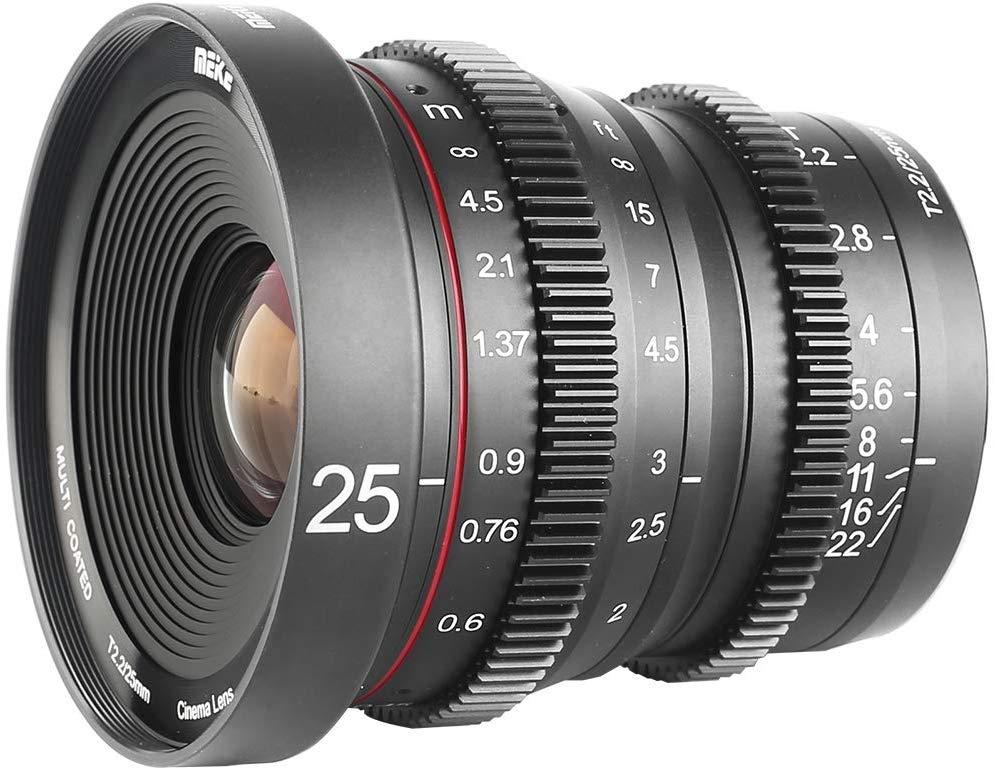 Meike 25mm T2.2 Manual Focus Prime Mini Lente de Cinema para Micro Quatro Terços MFT M43 Montar Câmeras