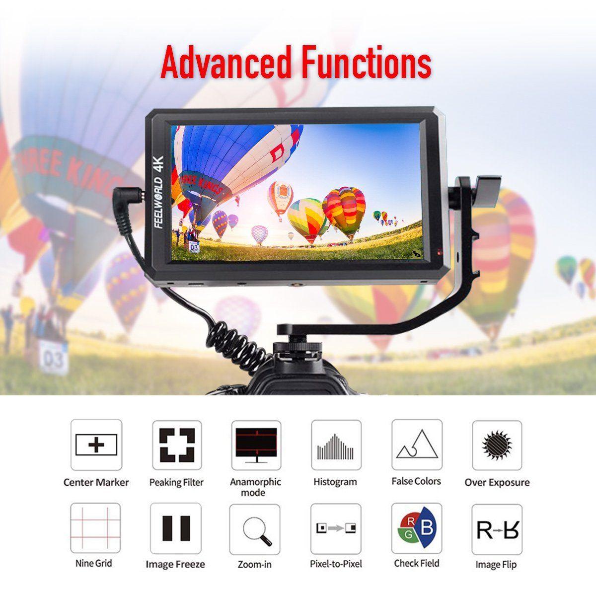 Monitor Feelworld F6 5.7 Polegadas Full HD On-Camera com 4K HDMI Input 1920 x 1080 Pixels
