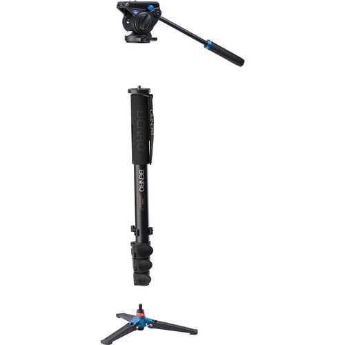 Monopé  Benro A48FDS4 Series 4 Aluminum  with 3-Leg Locking Base and S4 Video Head