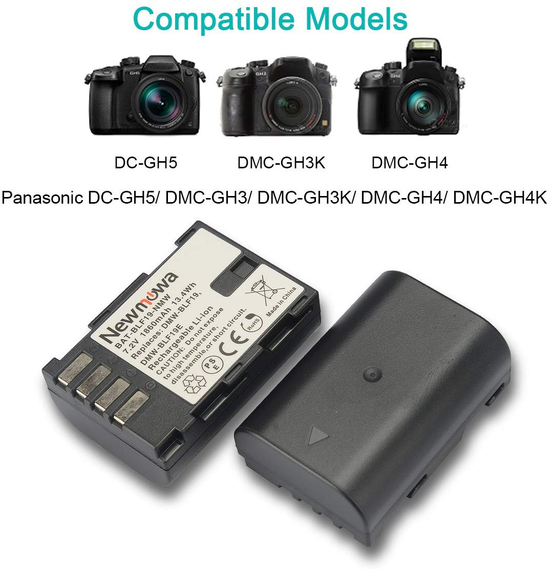Newmowa DMW-BLF19 Battery (2 Pack) and Dual USB Charger for Panasonic DMW-BLF19 and Panasonic DMW-BLF19E Panasonic DMC-GH5 DMC-GH3 DMC-GH3A DMC-GH3H DMC-GH4 DMC-GH4H DC-GH5S