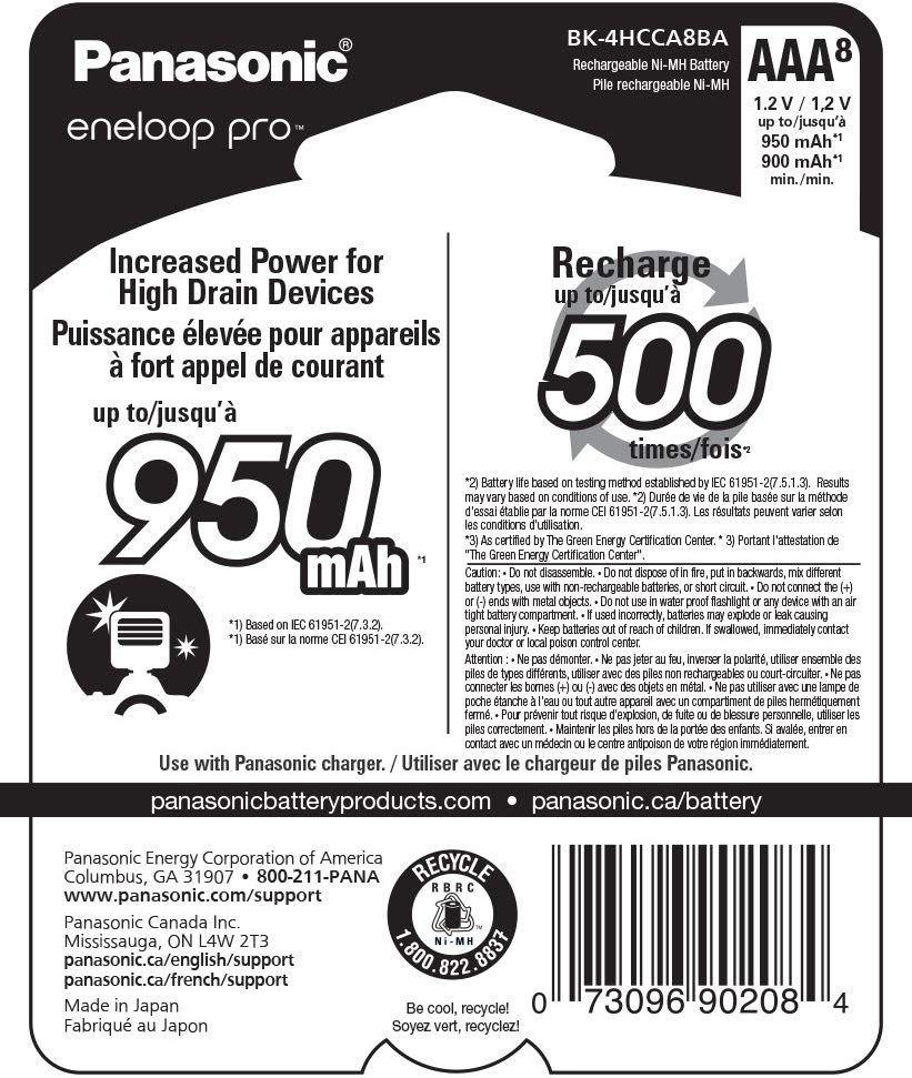 Pilha Rec. AAA Eneloop Pro 950MAH c/8