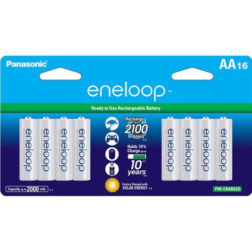 Pilhas Ni-MH recarregáveis AA Panasonic Eneloop (2000mAh, conjunto de 16)