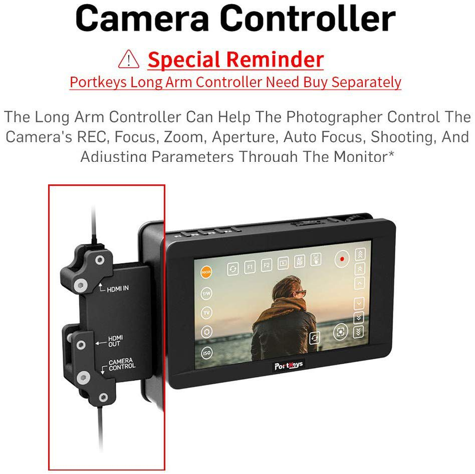 PortKeys LH5HDR 5 Inch 1920x1080 Camera Field Monitor 1500 Nit with HLG/3D LUT/Multi-Touch Screen,4K HDMI In/Out Put,Support Camera Control,Power Camera By Dummy Battery