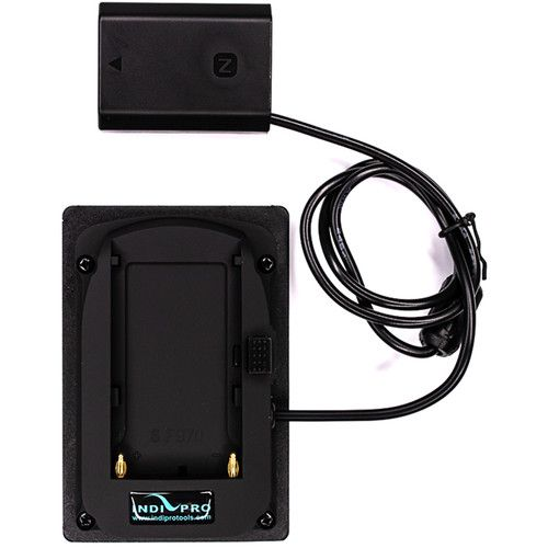 Power your camera with an external Sony L-series battery when using a Sony NP-FZ100 battery-powered camera by using this Sony L-Series Battery Plate to NP-FZ100 Dummy Battery Adapter from IndiPRO Tool