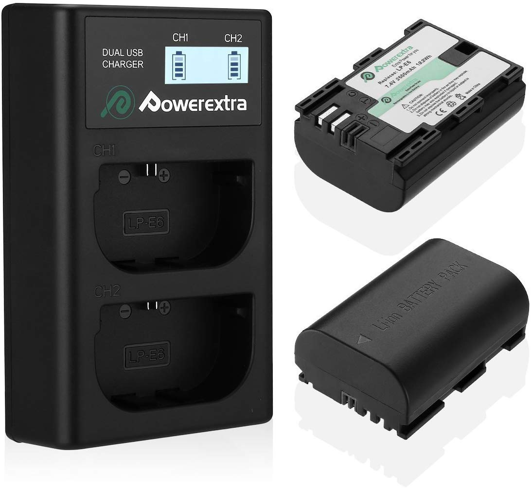 Powerextra 2 Pack Replacement Canon LP-E6 Battery & Dual Battery Charger USB LCD Display