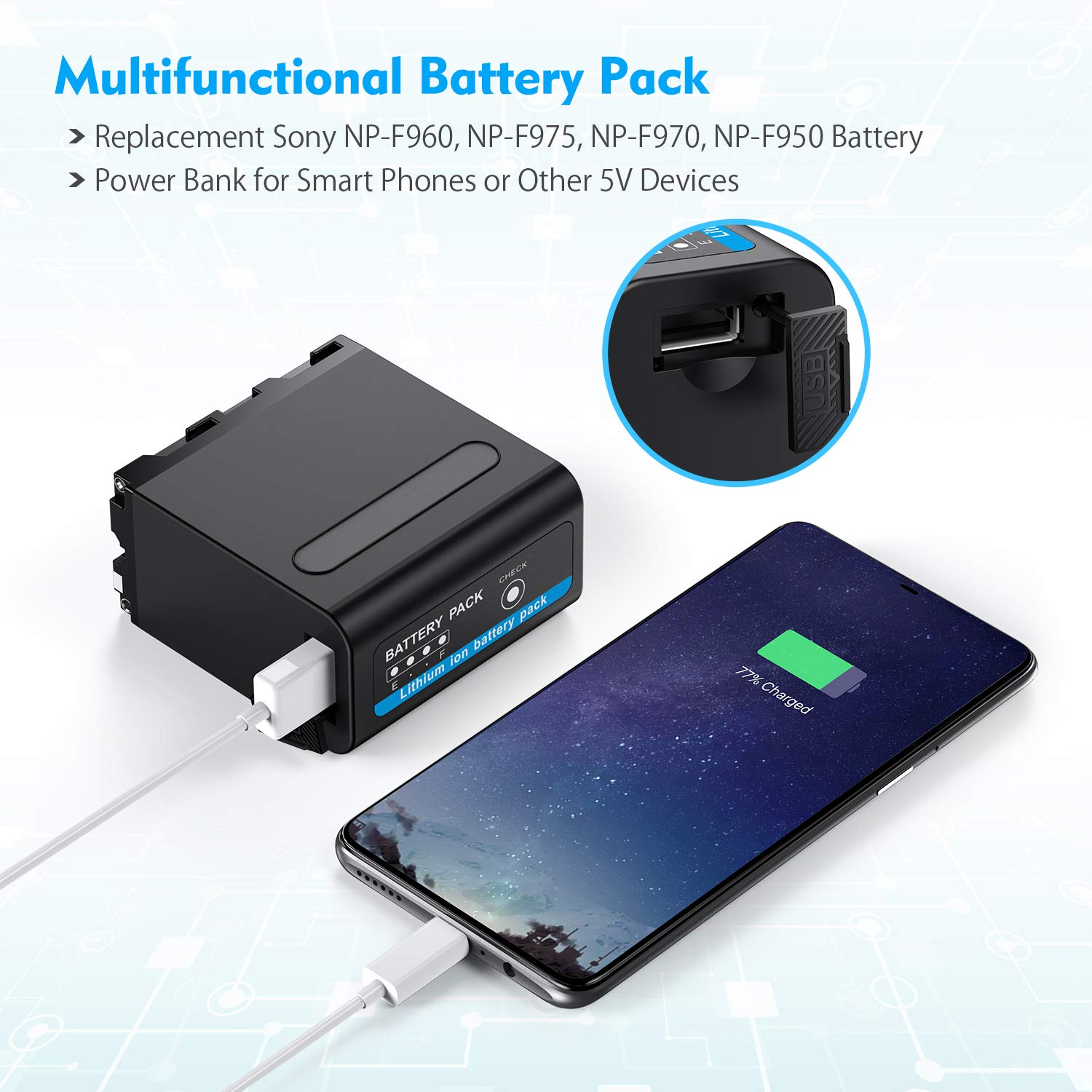 Powerextra Multifunctional Battery Pack Power Bank with USB Output for Sony NP-F970, NP-F975, NP-F960, NP-F950, NP-F930 Battery
