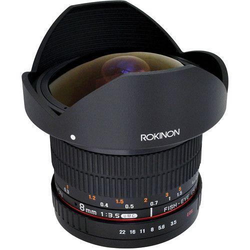 Rokinon 8mm f / 3.5 HD Lente olho de peixe com capuz removível para Canon