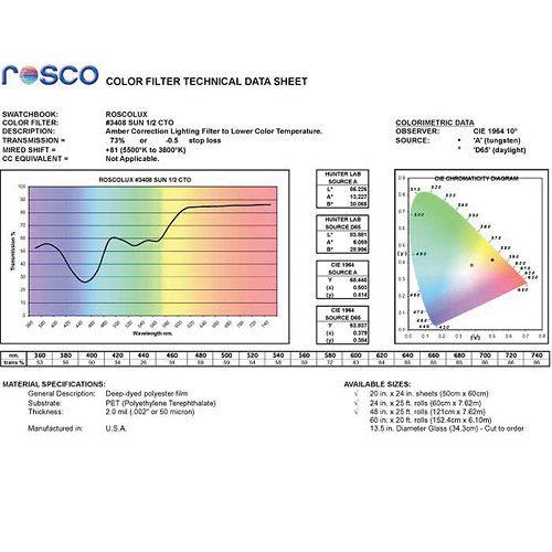 "Rosco Cinegel Filter #3408 RoscoSun 1/2 CTO (20 x 24"" Sheet)"