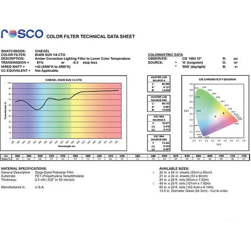 "Rosco Cinegel Filter #3409 RoscoSun 1/4 CTO (20 x 24"" Sheet)"