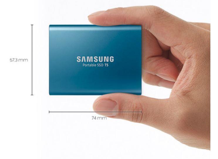 Samsung 500GB T5 Portable Solid-State Drive (Blue) - SSD Portátil
