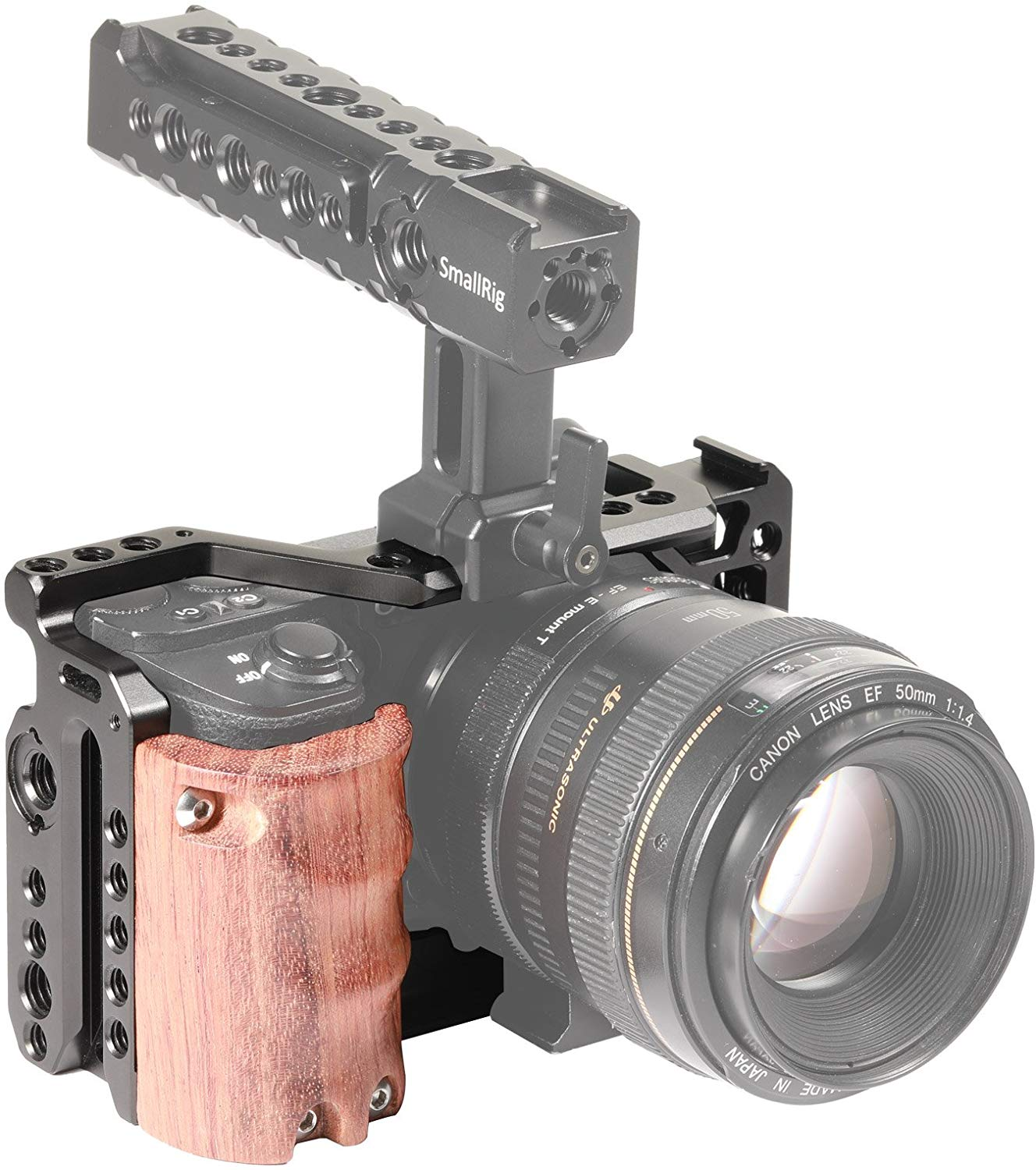 SMALLRIG Camera A6500 Cage Kit with Wooden Handle Hand Grip for Sony Alpha A6500/ILCE-6500 4K Digital Mirrorless Camera - 2097