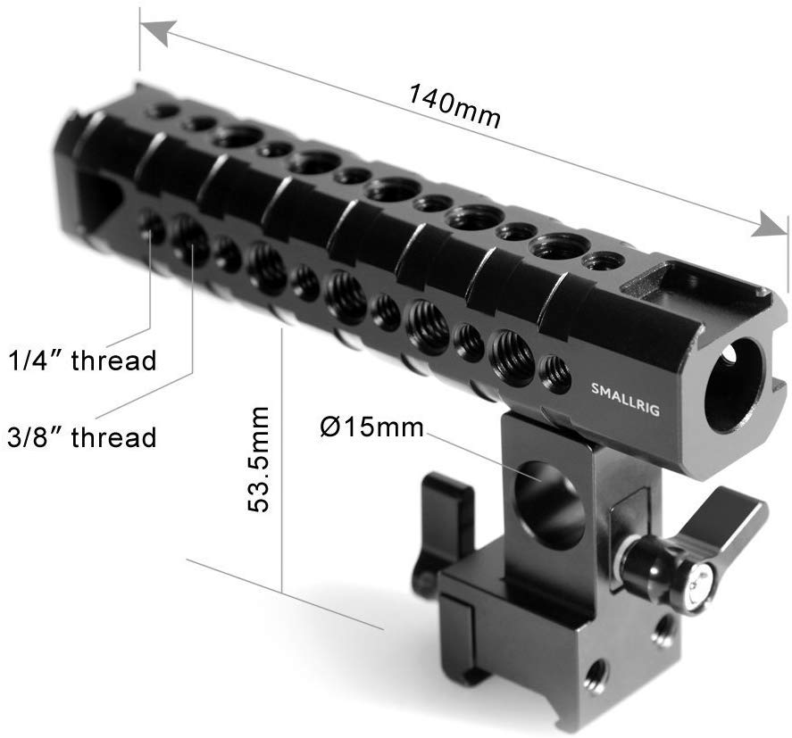 SMALLRIG Camera Cheese Top Handle with 15mm Rod Clamp and NATO Clamp – 1649