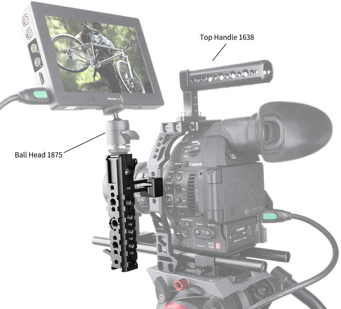 SMALLRIG QR Cheese NATO Side Handle with 15mm Rod Clamp Built-in Cold Shoe for EVF/Microphone Shock Mount- 1688
