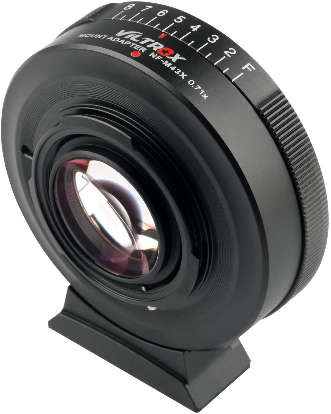 Viltrox NF-M43X Manual Focus Adaptador de Montagem de Lente Redutora de Velocidade de Redutor de 0,71x com Controle de Abertura para Nikon G D Lens para M4 / 3
