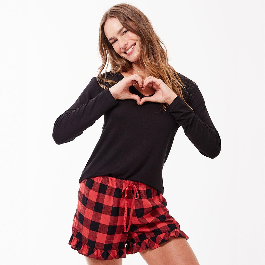 Pijama Curto Jogê Flanela Love Xadrez