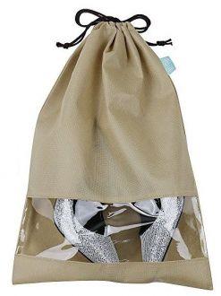 Saquinho de tnt para sapato 25x35 - com visor de pvc cristal - etiqueta lateral personalizada  -  Linha Classic  7398