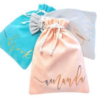 Embalagem de Camurça para Acessórios Feminino - Linha Luxo - Impressão em Hotstamping - fechamento cordão de seda - tamanho 20 x 30 - Linha Luxo 4002