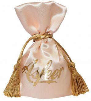 Embalagem de cetim  para joias -  08 x 12 - Impressão Hot-Stamping Italiano - Fechamento com pingente de seda -  Linha Premium  6102