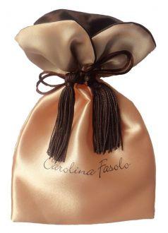 Embalagem de cetim personalizado - Tamanho 10x15 - Borda gola colorida e pingente de seda - impressão em sublimação - Linha Premium 1210
