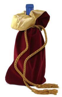 Saquinho de veludo para garrafa - borda dupla de cetim - fechamento de corda e pingente de seda 18x40 - Linha Premium 4006