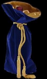Saquinho de veludo para garrafa - borda dupla de cetim - fechamento de corda e pingente de seda 18x40 - Linha Premium 4005