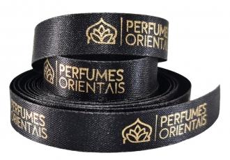 Fita de cetim personalizada 10mm  - Impressão Foil Metalizado ou serigrafia 1 cor - Preço por metro - Linha cristal 9050