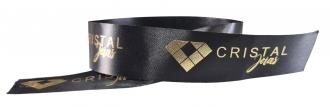Fita de cetim personalizada 15mm- Impressão Foil Metalizado ou serigrafia 1 cor - Preço por metro - Linha cristal 9060