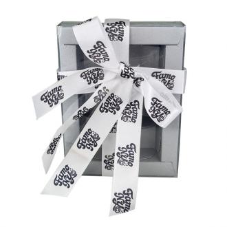 Fita de cetim Personalizada 25mm  - Impressão Foil Metalizado ou serigrafia 1 cor - Preço por metro - Linha cristal 9091