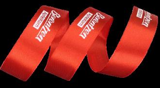 Fita de cetim personalizada 35mm  - Impressão Foil Metalizado ou serigrafia 1 cor - Preço por metro - Linha cristal  4537