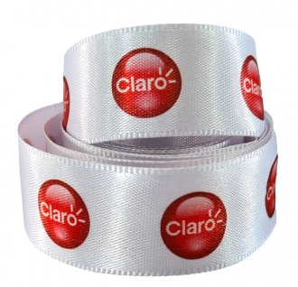 Fita de cetim personalizada 38mm - impressão colorida - Preço por metro - Linha cristal  9252