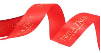 Fita de cetim personalizada 40mm   - Impressão Foil Metalizado ou serigrafia 1 cor - Preço por metro - Linha cristal  4524