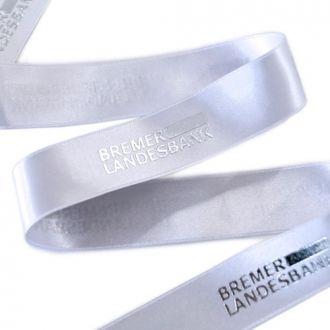 Fita de cetim personalizada 45mm   - Impressão Foil Metalizado ou serigrafia 1 cor - Preço por metro - Linha cristal 4516