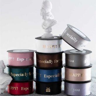 Fita de cetim personalizada 50mm  - Impressão Foil Metalizado ou serigrafia 1 cor - Preço por metro - Linha cristal 4510