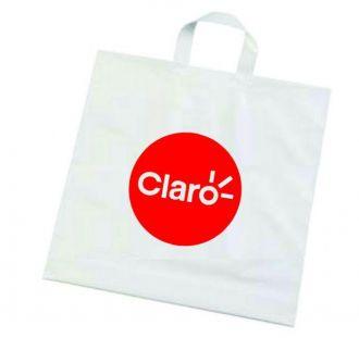 Kit com 3 Sacolas plástica alça fita - Alta densidade 0,15 - tamanho 45X55 - Impressão em serigrafia 1 cor - Linha Cristal  1528