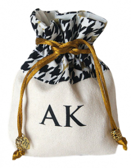 Saquinho de algodão borda personalizada 10 x 15 - ponteira de pedras -impressão em serigrafia 1 cor - Linha Exclusive  7101