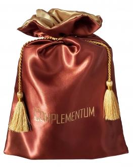 Saquinho de cetim Premium 30x40 - borda de cetim colorida - Impressão Hot-Stamping Italiano - fechamento com corda e pingente cupula trançada  - Linha Premium 1212