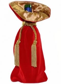 Saquinho de veludo para garrafa  - borda dupla de cetim - fechamento de corda e pingente de seda 18x40 - Linha Premium 4004